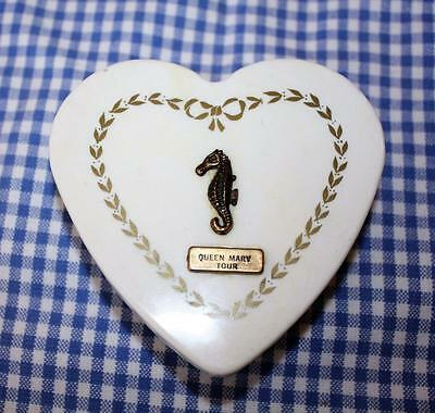 Queen Mary Tour Vintage Heart Shaped Trinket Box with Brass Seahorse