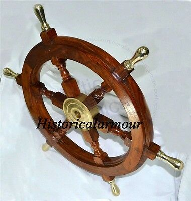 18 inch Maritime Decorative Ship Wheel - Handmade Hard-wood with Brass