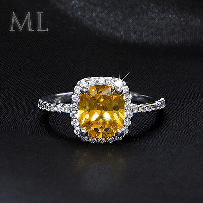 Womens 2.0 CT YELLOW Stone Promise Engagement RING White Gold Plated Size 4-9
