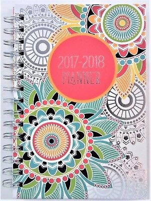 "Hardcover Spiral Student Weekly / Monthly Planner 2017 - 2018  6"" X 8"" Coloring"