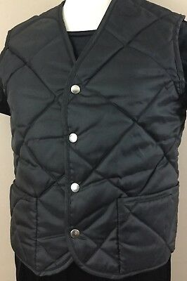 Vintage H And R Quilted Nylon Puffer Vest Size Medium In Black