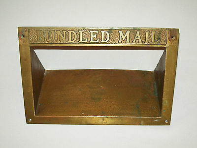 Antique vtg ca 1900s Large USPS Brass BUNDLED MAIL Letter Mail Slot bronze nice