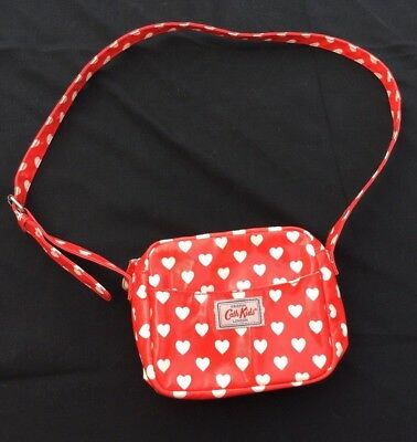 Cath Kids Bag Small Cross Body Bag Purse Red White Hearts Oil Cloth