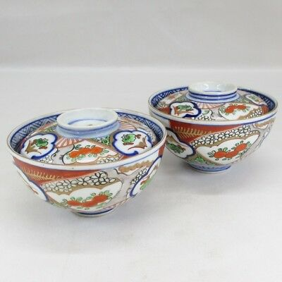 H543: Japanese OLD IMARI porcelain pair of covered bowl with good painting 2