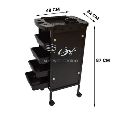 Hairdresser Salon Spa Multifunction Hair Trolley Rolling Storage Cart au 5Tiers