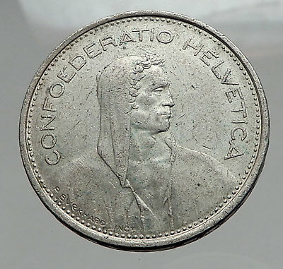 1967 Switzerland Founding HERO WILLIAM TELL 5 Francs Silver Swiss Coin i62896