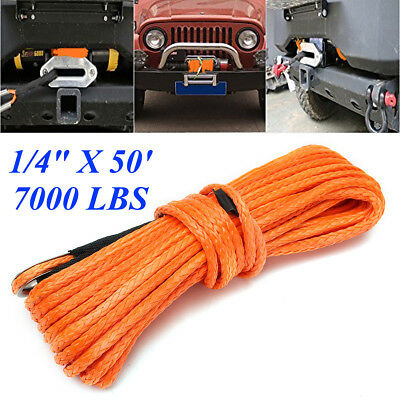 1/4''x50' 7000lbs Synthetic Winch Rope Cable Line for ATV UTV Off-road Orange