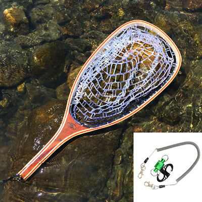 SF Fly Fishing Landing Net Rubber Catch and Release With GREEN Net Release