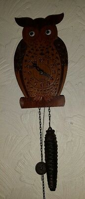 early black forest cuckoo  type clock owl with moving eyes