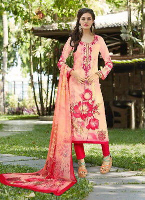 Cambric Printed Work Unstitched Salwar Kameez With Chiffon Duptta 9020