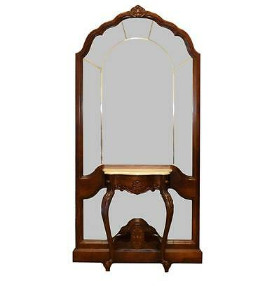 Pulaski Furniture Mahogany Hall Tree with Marble Table Top + Beveled Mirror