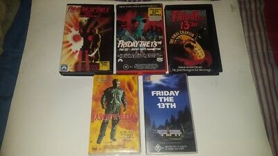 Friday the 13th.. x 5..VHS tapes....good - vg...