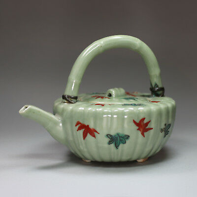 Japanese celadon ribbed teapot and cover