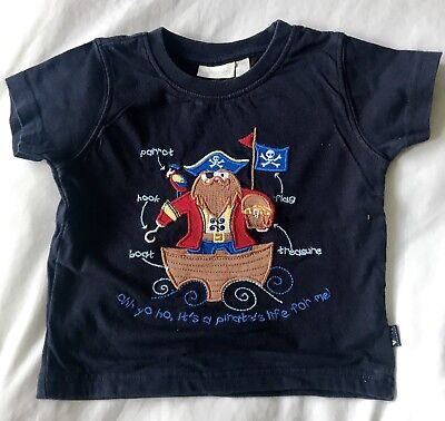 Jojo Maman Bebe Boys Tshirt Top Pirate 12-18 Months Navy Blue