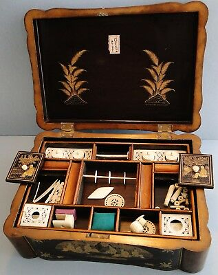 Fine Antique Complete Chinese Gold Lacquer Sewing Box With Accessories 1870