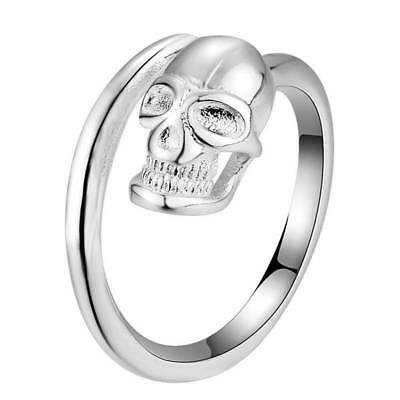 Punk 925 Sterling Silver Filled Jewelry Skull Head Adjust Open Statement Ring