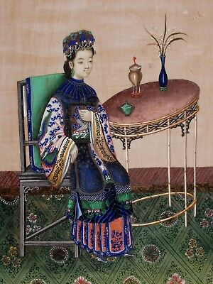 Fine Antique Chinese Pith Gouache Painting Beautiful Lady In Robes Circa 1850