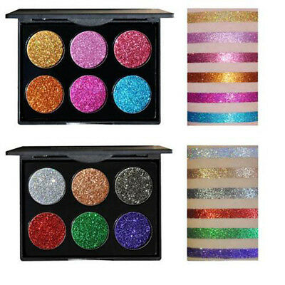 6 Colori Polvere Glitter Shimmer Eyeshadow Palette Ombretto KIT REGALO NUOVO 1 x