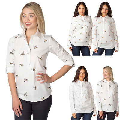 Ladies Patterned Shirt Rydale Wistow Overhead Country Cotton Hare Pheasant Horse