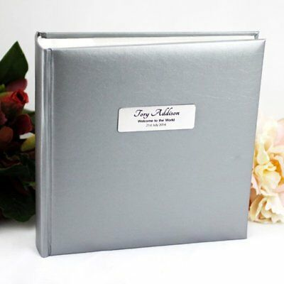 Silver Baby Photo Album -Personalised Gift - Add a Name & Message