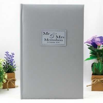 Mr & Mrs Wedding Album - 300 Photo - Silver - Add a Name & Message