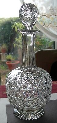 NICE 1st QUALITY ETCH SIGNED THOMAS WEBB WELLINGTON CUT FOOTED WINE DECANTER