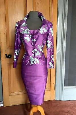 Stunning Paule Vasseur Mother Of The Bride Silk Dress And Jacket, Size 14