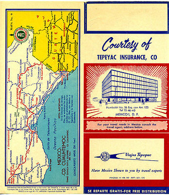 1950's Mexico Road Map from Tepeyac Insurance & Pemex