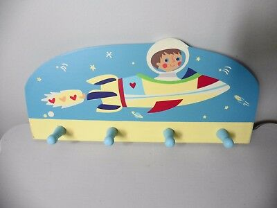 Sass & Belle Themed Spaceship Rocket 4 Painted Wooden Wall Hooks . NEW
