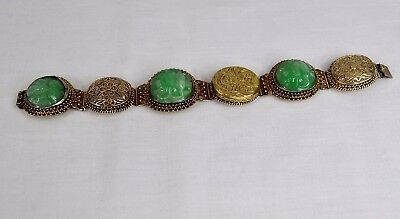 Antique Chinese Export Gilt Silver Filigree Carved Jadeite Jade Bracelet