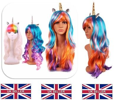 UK Halloween 70cm Colorful Long Curly Wig Rainbow Unicorn Gothic Race Wig BQP