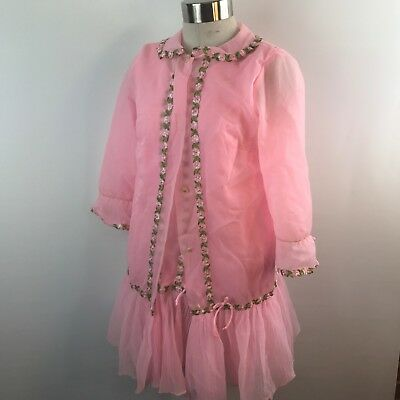 Dorsay Vintage Nightgown & Robe Sheer Pink Nylon Embroidered Flowers