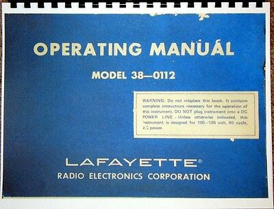COMPLETE Manual & Charts for Lafayette 38-0112 Tube & Transistor Tester, EMC 215