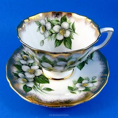 Pretty Dogwood with Gold Edge Adderley Tea Cup and Saucer Set