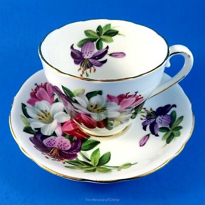 Striking Colorful Lilies Adderley Tea Cup and Saucer Set