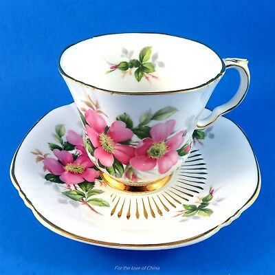 """Canadian Provincial Flowers Royal Adderley """"Prairie Rose"""" Tea Cup and Saucer Set"""
