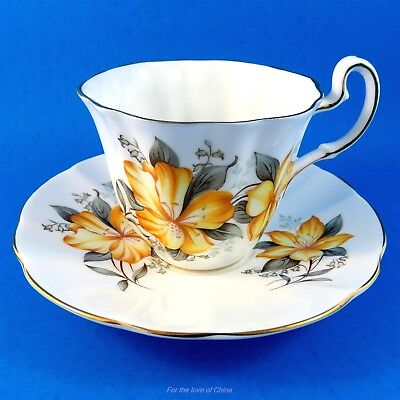 Yellow Floral Adderley Tea Cup and Saucer Set