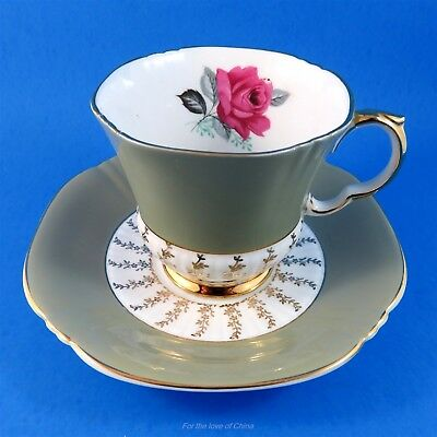 Unique Taupe Color with Rose Royal Adderley Tea Cup and Saucer Set