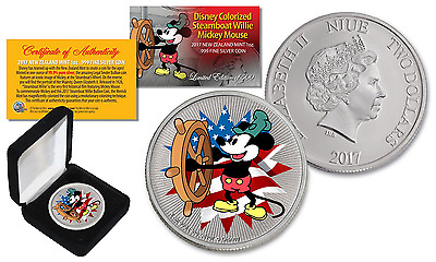2017 NZM Nieu 1 oz SILVER BU Mickey Mouse Disney Steamboat AMERICANA LTD of 500