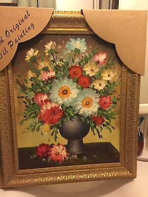 vintage oil painting ornate gold frame beautiful flowers signed original new