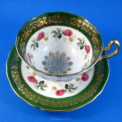 Dark Green and Gold Border with Rose Garland Adderley Tea Cup and Saucer Set