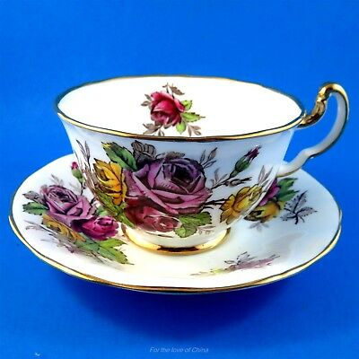 Handpainted Pink, Red and Yellow Roses Adderley Tea Cup and Saucer Set