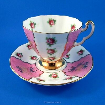 Pretty Pink Pannel and Pink Roses Adderley Tea Cup and Saucer Set