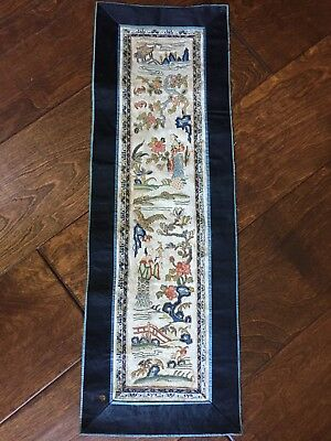 Antique Forbidden Stitch Chinese Silk Embroidered Tapestry Panel Elders Flowers