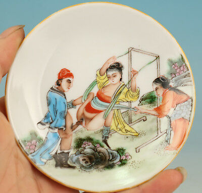 chinese Porcelain Hand Painting Swing Hug Belle Plate