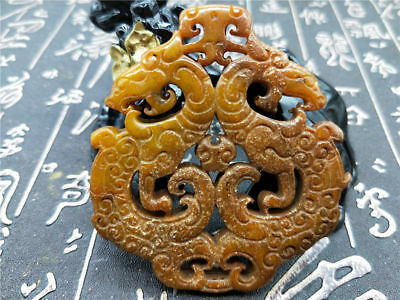 Old China Hand-carved jade Pendant worn aristocratic art collection B125
