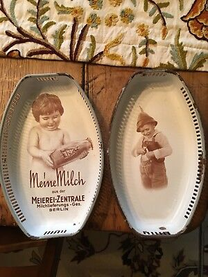 2 Antique GERMAN ENAMELWARE Trays Bread Baskets