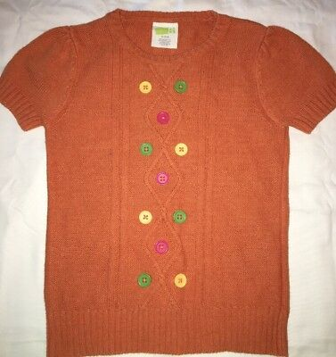 Crazy 8 Girl 5 6 Sweater Orange S/S Buttons Fall Winter Autumn