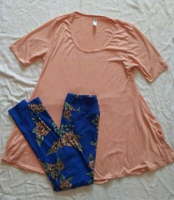 LulaRoe Outfit XS Top and OS Leggings Stretch Pink Peach Roses on Blue