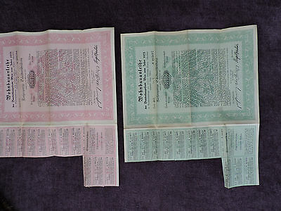 1923 AUSTRIAN BOND (or stocks) WITH COUPONS 1,000,000 & 500,000 KRONEN
